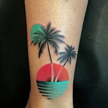 diseños de tatuajes de palmeras y playa