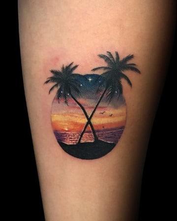 fotos de tatuajes de palmeras y playa