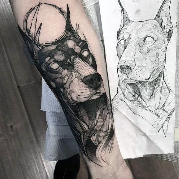 imagenes de tatuajes de perros doberman