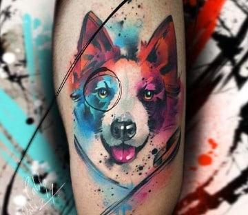 tatuajes de perros husky en acuarela
