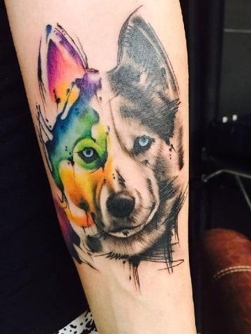 tatuajes de perros husky para hombres
