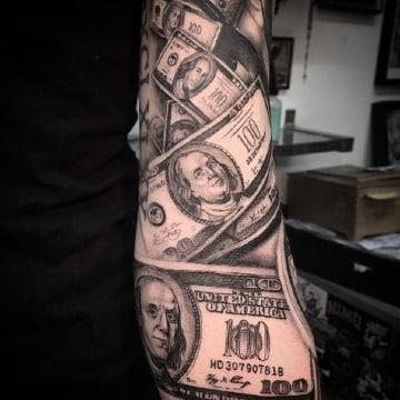 fotos de tatuajes de billetes de dolar