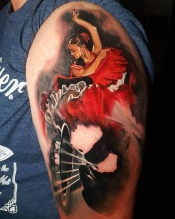 tatuajes de bailarinas de flamenco a color