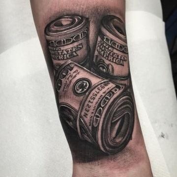 tatuajes de billetes de dolar hombres
