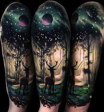 espectaculares tatuajes de bosques oscuros