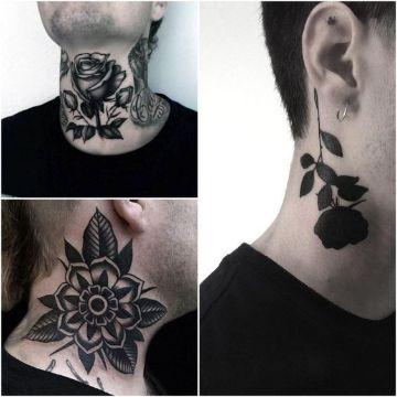 ideas de tatuajes de rosas en el cuello