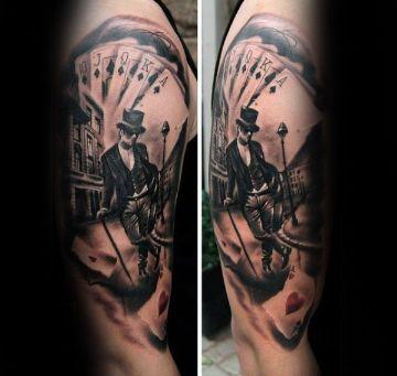tatuajes de barajas y dados para hombres
