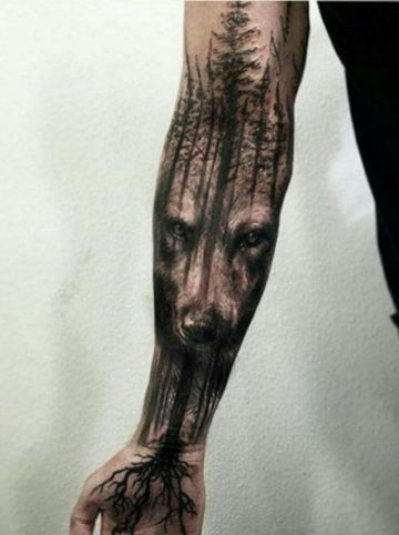 tatuajes de bosques oscuros en el brazo
