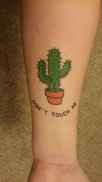 tatuajes de cactus y suculentas a color