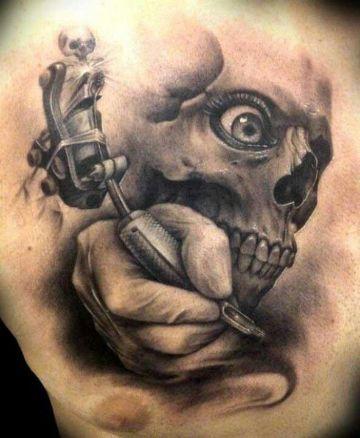 tatuajes de demonios y calaveras blanco y negro