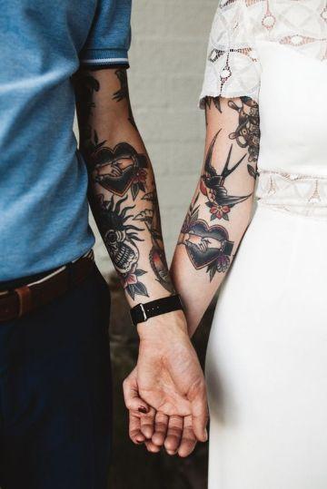 tatuajes de golondrinas para parejas a color