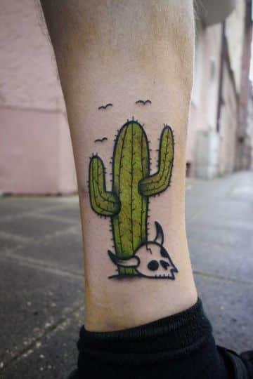 tatuajes de cactus a color para hombres
