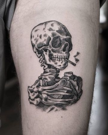 tatuajes de calaveras fumando pequeños