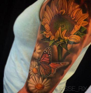 tatuajes de girasoles en el hombro para chicas