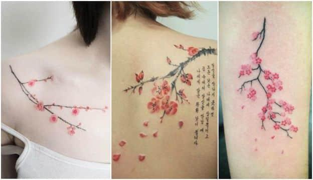 tatuajes de cerezos japoneses para mujer