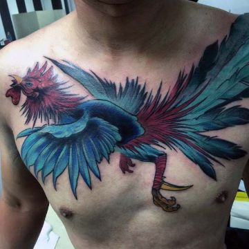 tatuajes de gallos de pelea en pecho