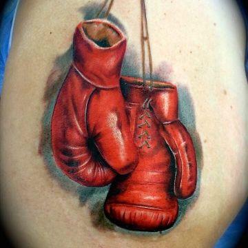 tatuajes de guantes de box realistas a escala
