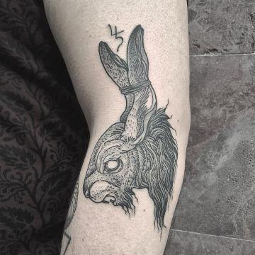 tatuajes de conejos para hombres relistas blanco y negro