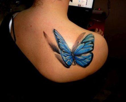 tatuajes de mariposas en la espalda para mujeres en 3d