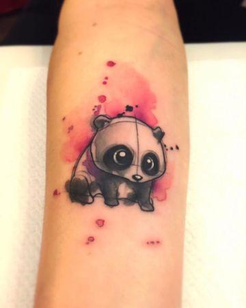 tatuajes de osos panda coloridos