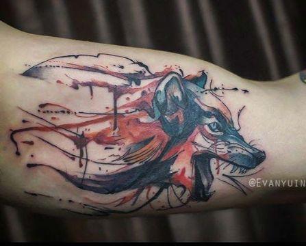 tatuajes de zorros para hombres trash polka