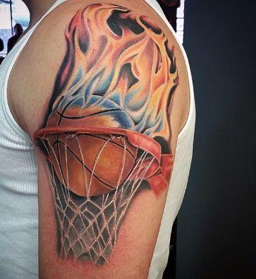 tatuajes de basquet para hombres en brazo