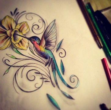 tatuajes de colibri con flores plantilla
