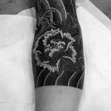tatuajes de flores blanco y negro japones