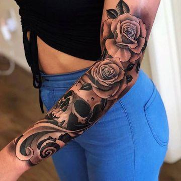 tatuajes de flores blanco y negro mangas