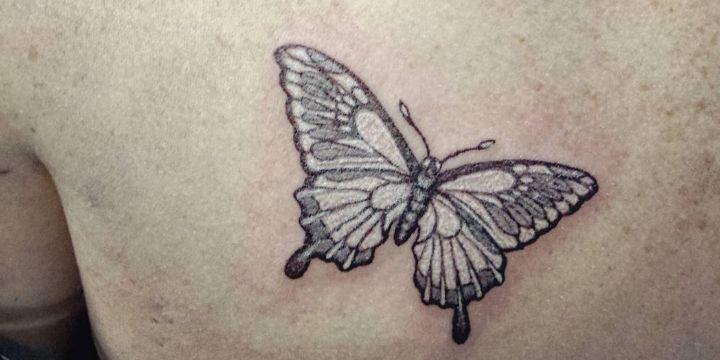 tatuajes de mariposas blancas con negro