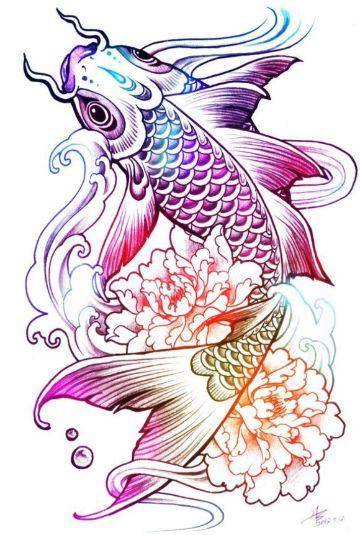 tatuajes de peces japoneses plantilla