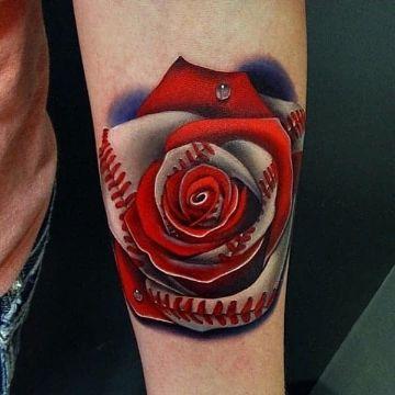 tatuajes de pelotas de beisbol colores y rosas