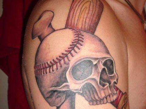 tatuajes de pelotas de beisbol con calavera