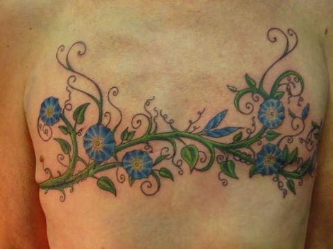tatuajes de enredaderas de flores horizontales