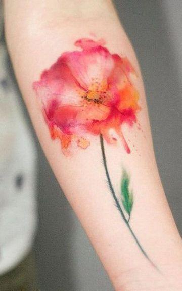 tatuajes de flores acuarela sin delinear