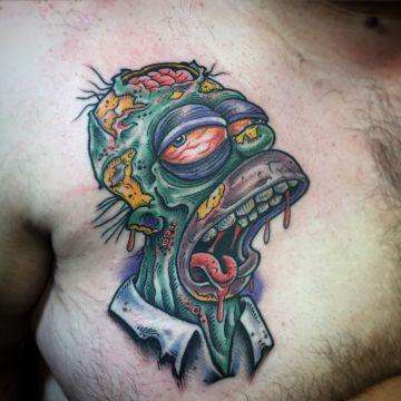 tatuajes de homero simpson en modo zombie