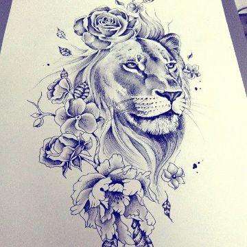 tatuajes de leon con flores pantilla