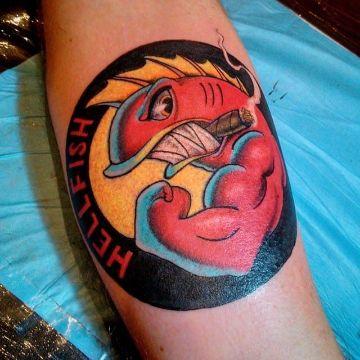 tatuaje del abuelo simpson replica