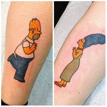 tatuajes para parejas de los simpson esposos
