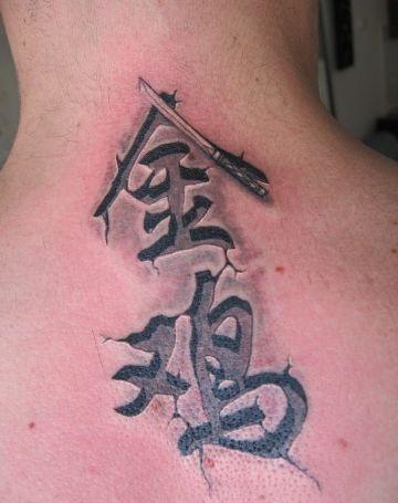 letras chinas en el cuello con texturas