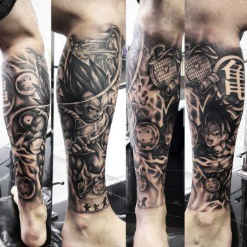 tatuajes de dragon ball z batalla