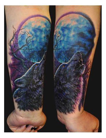 tatuajes de lobos aullando efecto dotwork