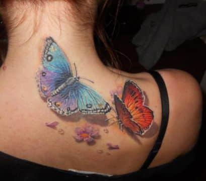 tatuajes de mariposas en 3d coloridas