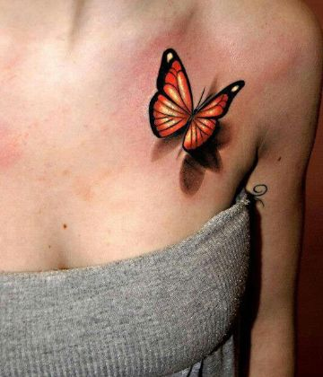tatuajes de mariposas en 3d en hombro
