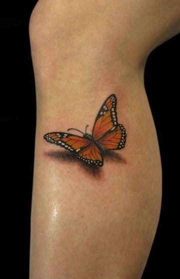 tatuajes de mariposas en 3d en la pierna