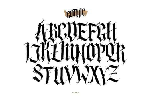letras goticas para tatuajes plantilla