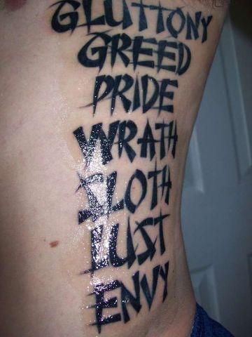 tatuajes de los 7 pecados capitales en palabras