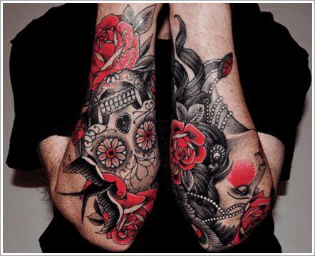 tatuajes de rosas hombres tradicional americano