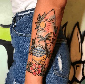 tatuajes de tablas de surf clasico