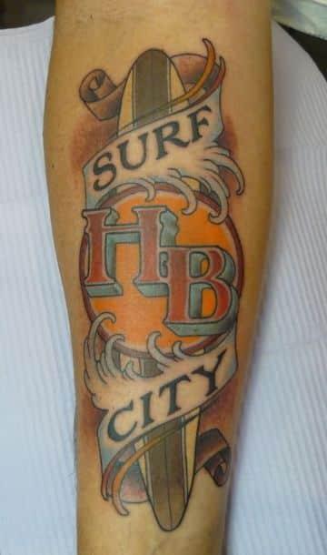 tatuajes de tablas de surf tradicional americano